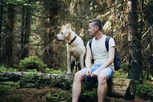 Man with dog in forest