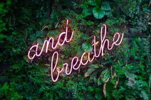 and breathe neon sign on tre