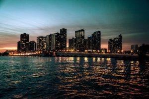 city lights buildings at night